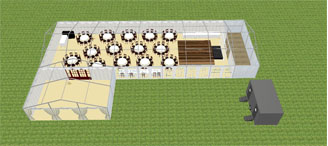 3D plan showing catering area at rear 1